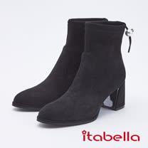 itabella.甜美暖冬 柔軟絨後帶中筒靴(9752-95黑色)