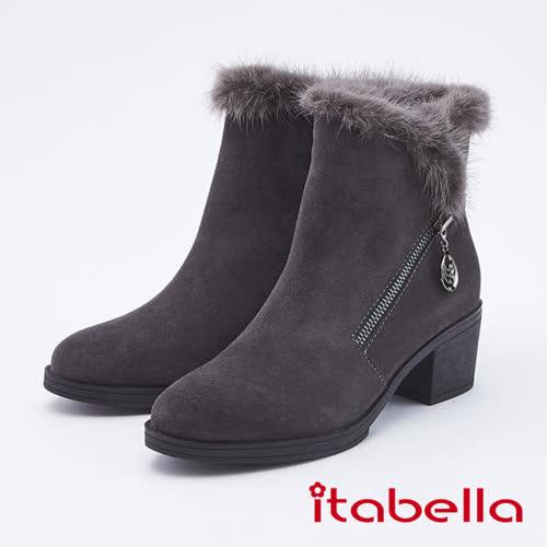 itabella.復古圓頭絨面粗跟短靴(9754-83灰色)