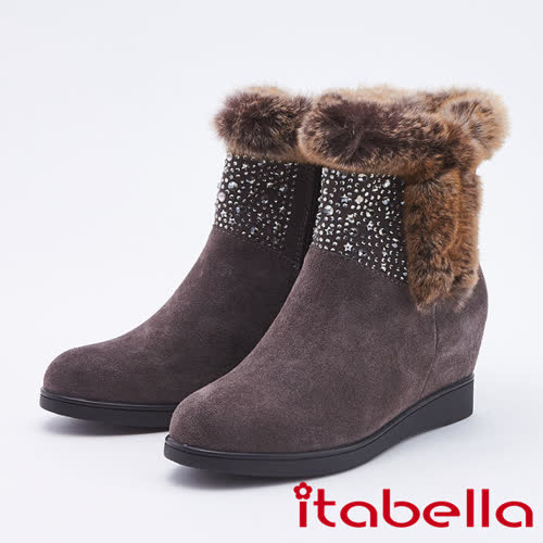 itabella.高貴真皮水鑽精緻楔型短靴(9755-83咖啡色)