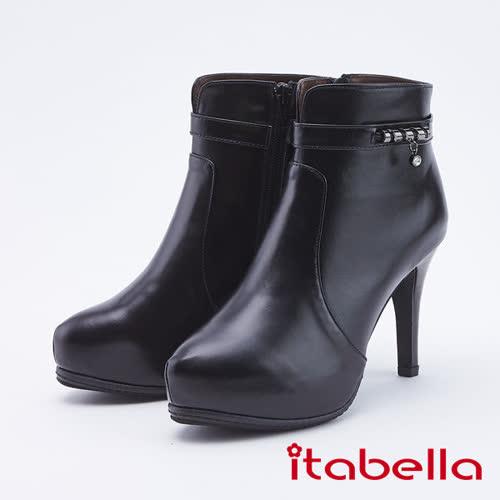 itabella.牛皮時髦高跟短靴(9763-90黑色)