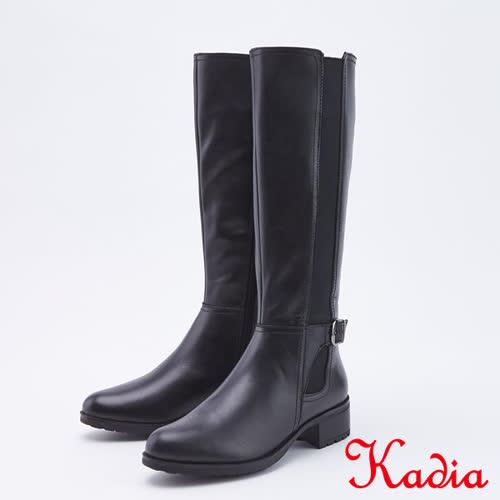 kadia.牛皮拼接彈力布長靴(9801-90黑色)