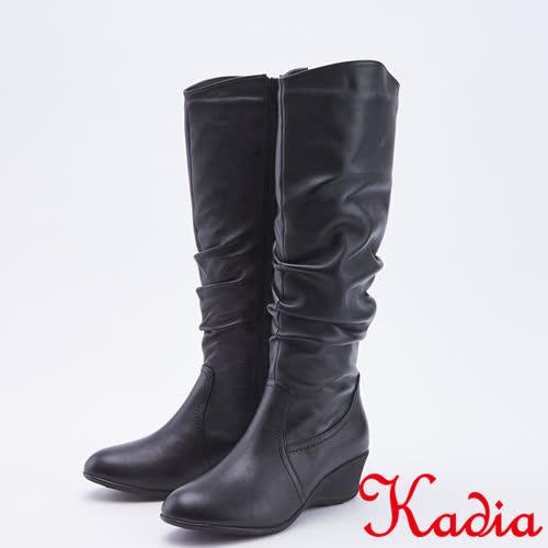 kadia.小羊皮素面抓皺低跟長靴(9807-91黑色)