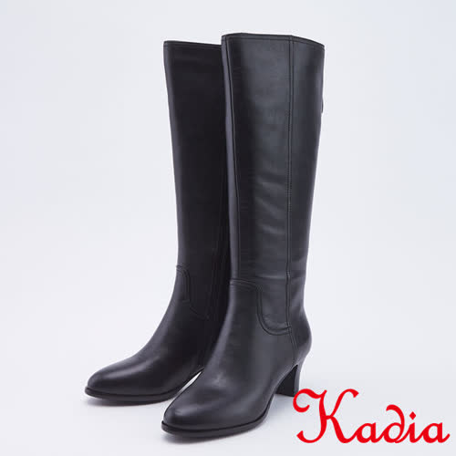 kadia.氣質優雅牛皮直筒高跟長靴(9855-90黑色)