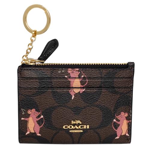 COACH深咖C Logo粉紅鼠圖印前卡夾鑰匙零錢包
