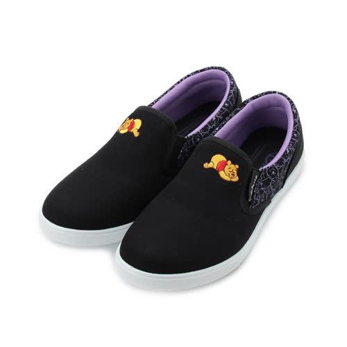 DISNEY 維尼套式帆布鞋 黑 女鞋 鞋全家福