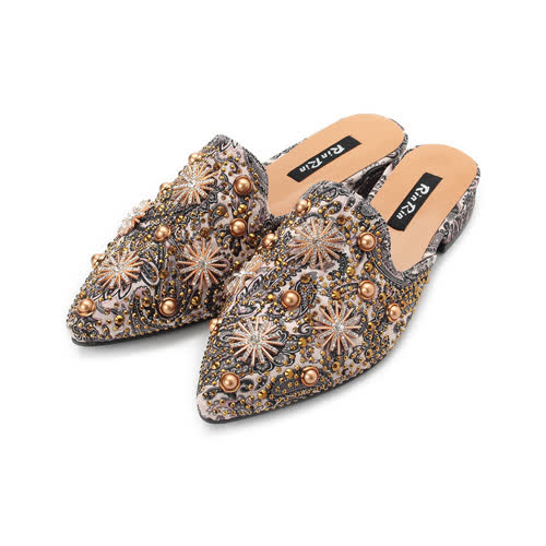RIN RIN 鉚釘星鑽穆勒鞋 銀 女鞋 鞋全家福