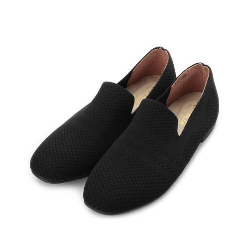 RIN RIN 特大尺碼 飛織套式平底鞋 黑 女鞋 鞋全家福