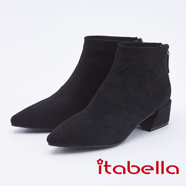 itabella.素面絨布粗高跟踝靴(9753-95黑色)
