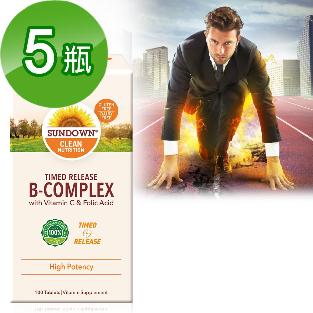 【美國Sundown日落恩賜】高單位緩釋型B群+C-B12強化配方(100錠/瓶)5瓶組