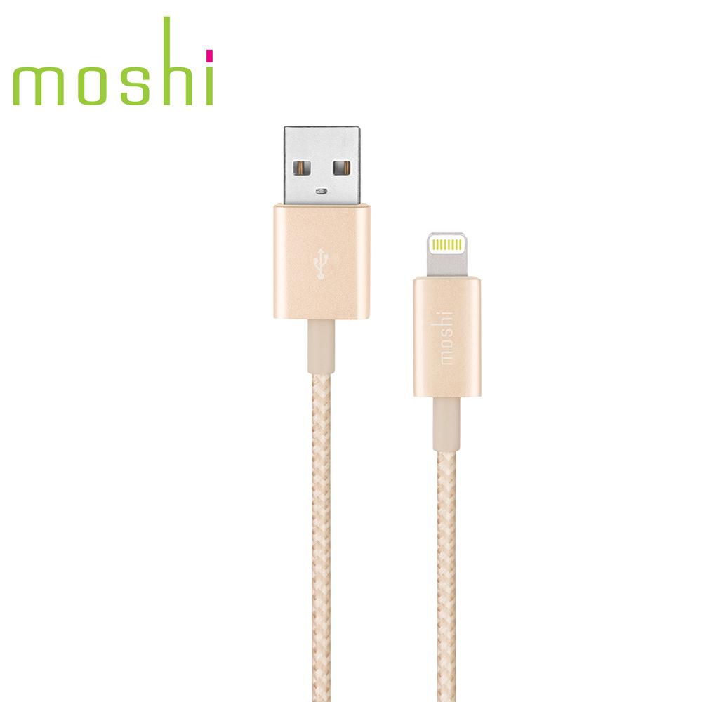 Moshi Integra™強韌系列Lightning to USB-A 耐用編織充電/傳輸線 緞金(1.2m)
