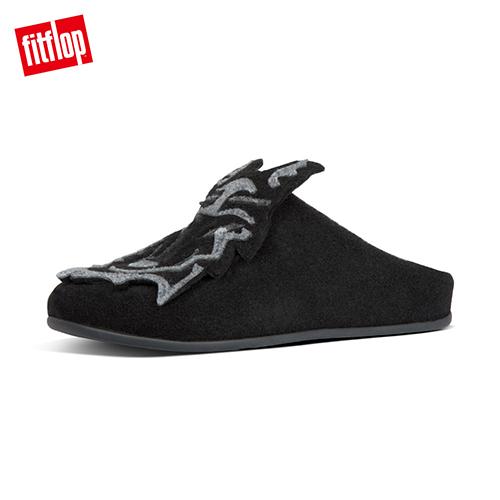 【FitFlop】WOLF SLIPPERS 童趣大野狼舒適便鞋-女 靓黑色