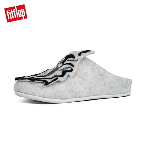 【FitFlop】WOLF SLIPPERS 童趣大野狼舒適便鞋-女 淺灰色