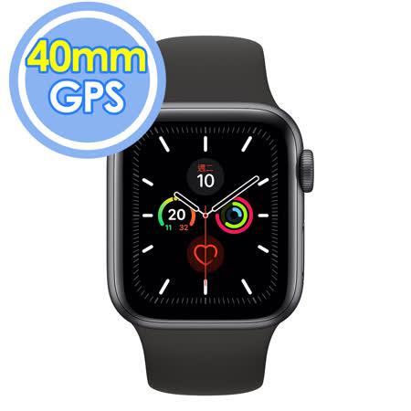 Apple Watch Series 5 GPS 40公釐 太空灰色鋁金屬錶殼搭配黑色運動型錶帶智慧手錶