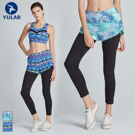 【台灣製】女彈性數位假兩件內搭褲-兩色可選