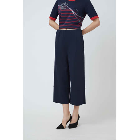 FrescOggi  時尚簡約剪接造型寬褲