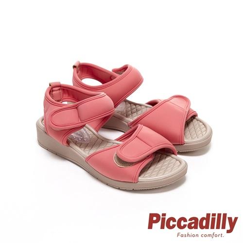 Piccadilly 寬帶可調整素面彈性休閒 坡跟涼鞋 粉桔(另有黑 卡其 )