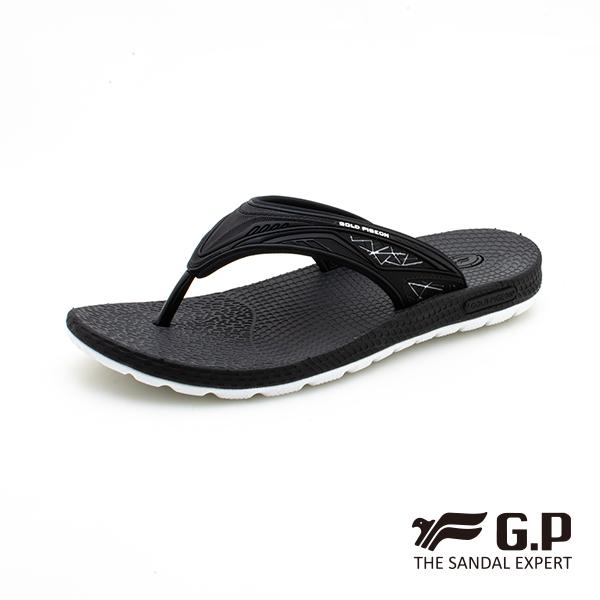 【G.P 男款羽量級舒適夾腳拖鞋】G0582M-黑色 (SIZE:39-44 共二色)