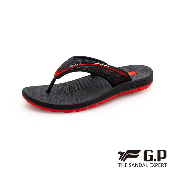 【G.P 男款羽量級舒適夾腳拖鞋】G0582M-黑紅色 (SIZE:39-44 共二色)