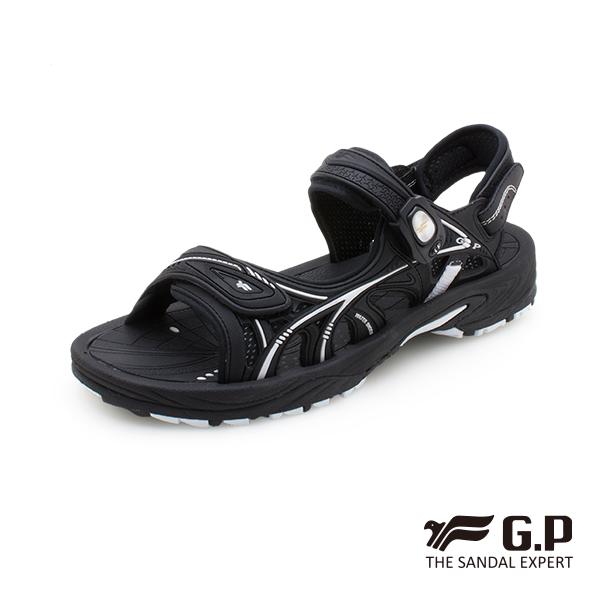 【G.P 男款硬派風格磁扣兩用涼拖鞋】G0796M-黑色 (SIZE:39-44 共二色)
