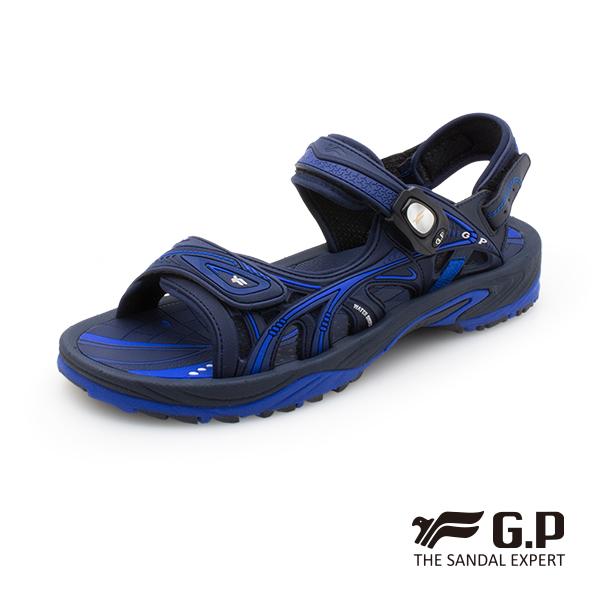 【G.P 男款硬派風格磁扣兩用涼拖鞋】G0796M-藍色 (SIZE:39-43 共二色)