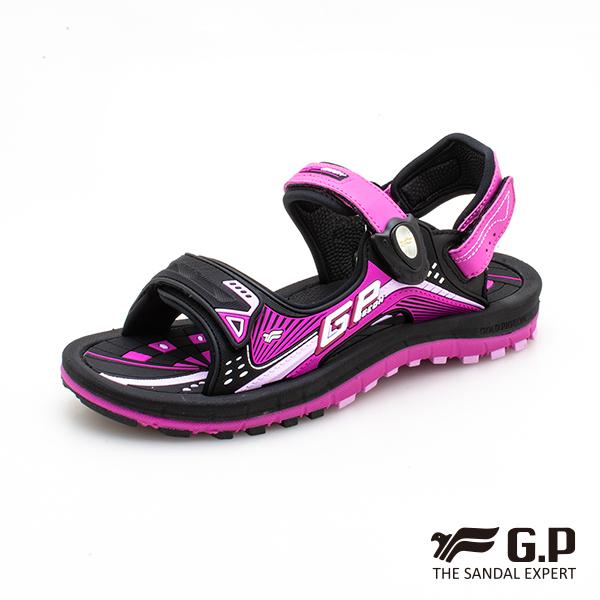 【G.P 兒童雙層舒適緩震磁扣兩用涼拖鞋】G0791BW-黑桃色(SIZE:33-37 共二色)