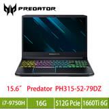 acer Predator PH315-52-79DZ掠奪者系列 /i7-9750H/GTX1660Ti 6GB/16G/512G PCIe/15.6吋FHD