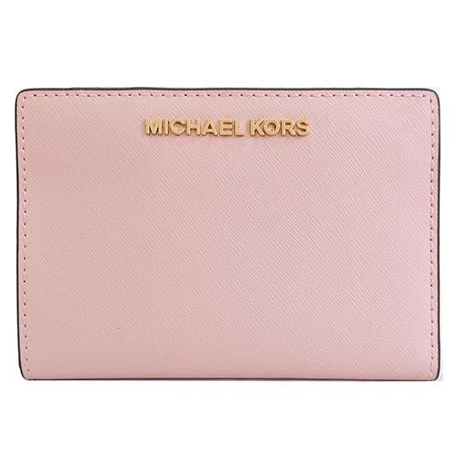 MICHAEL KORS 防刮卡片零錢短夾-櫻花粉