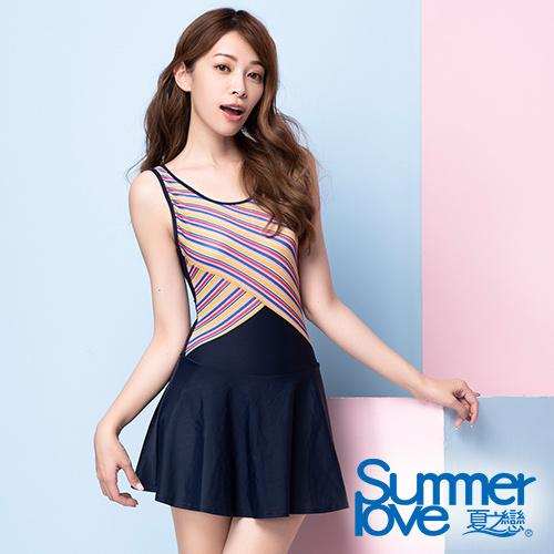 夏之戀SUMMERLOVE 大女條紋剪接連身帶裙泳衣S20710