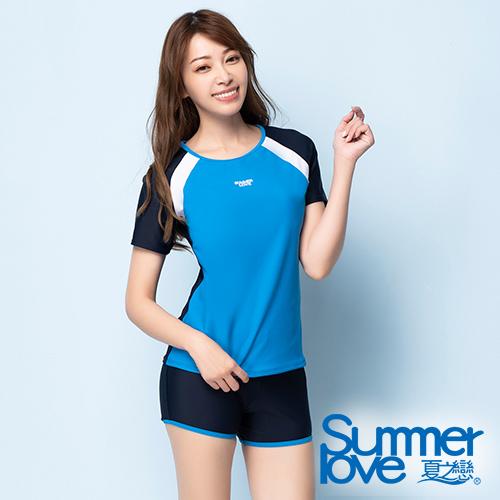 夏之戀SUMMERLOVE 大女短袖衝浪裝二件式S20729