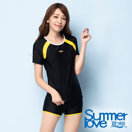 夏之戀SUMMERLOVE 大女短袖衝浪裝二件式-黑色