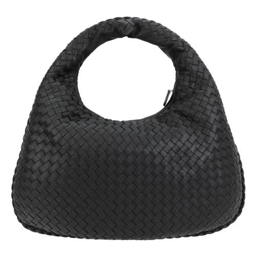 BOTTEGA VENETA Hobo 小羊皮仿編織格紋手提彎月包(黑)