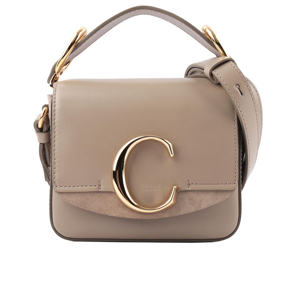 【CHLOE】Mini C BAG牛皮拚麂皮手提/斜背兩用包(灰色) CHC19US193A3723W