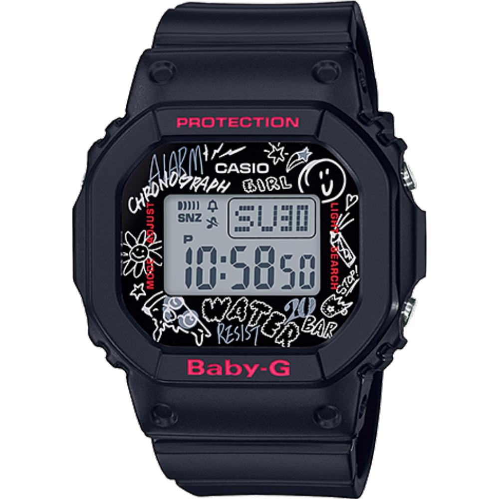 CASIO BABY-G 90年代藝術塗鴉設計數位錶-黑(BGD-560SK-1D)