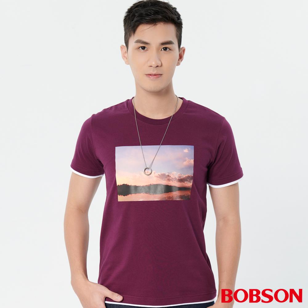 BOBSON 男款仿兩件印圖上衣 (28029-63)
