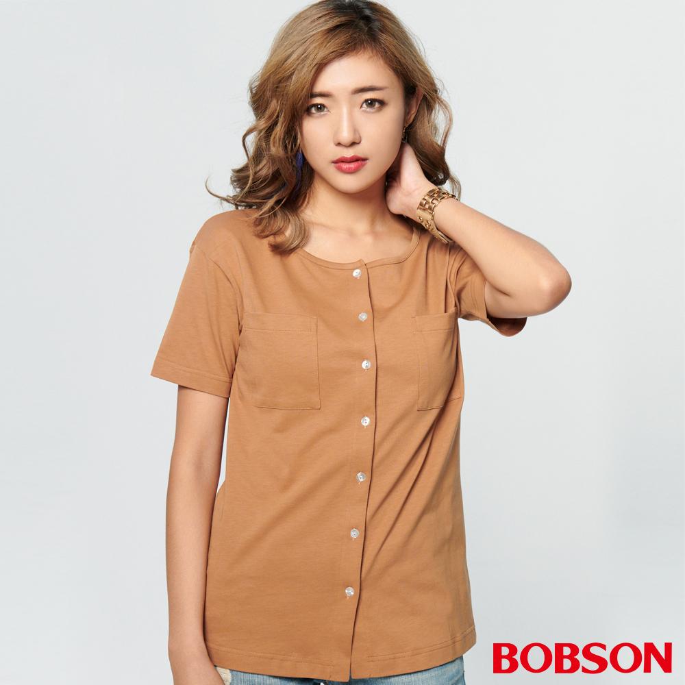BOBSON 女款襯衫式針織上衣 (28081-72)