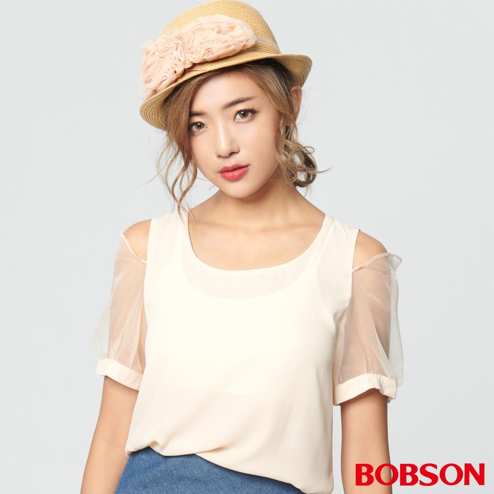 BOBSON 女款裸肩雪紡混紗上衣 (28088-32)