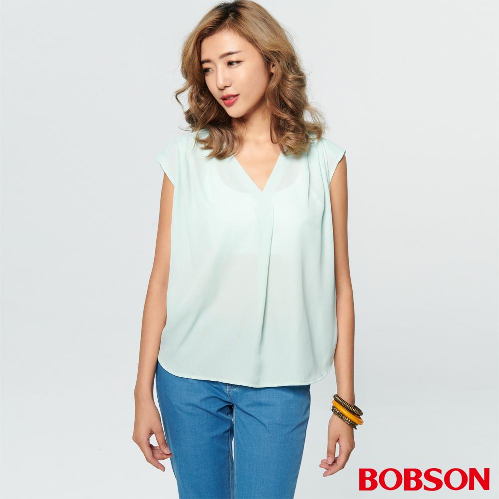 BOBSON 女款V領拼接針織上衣 (28089-40)