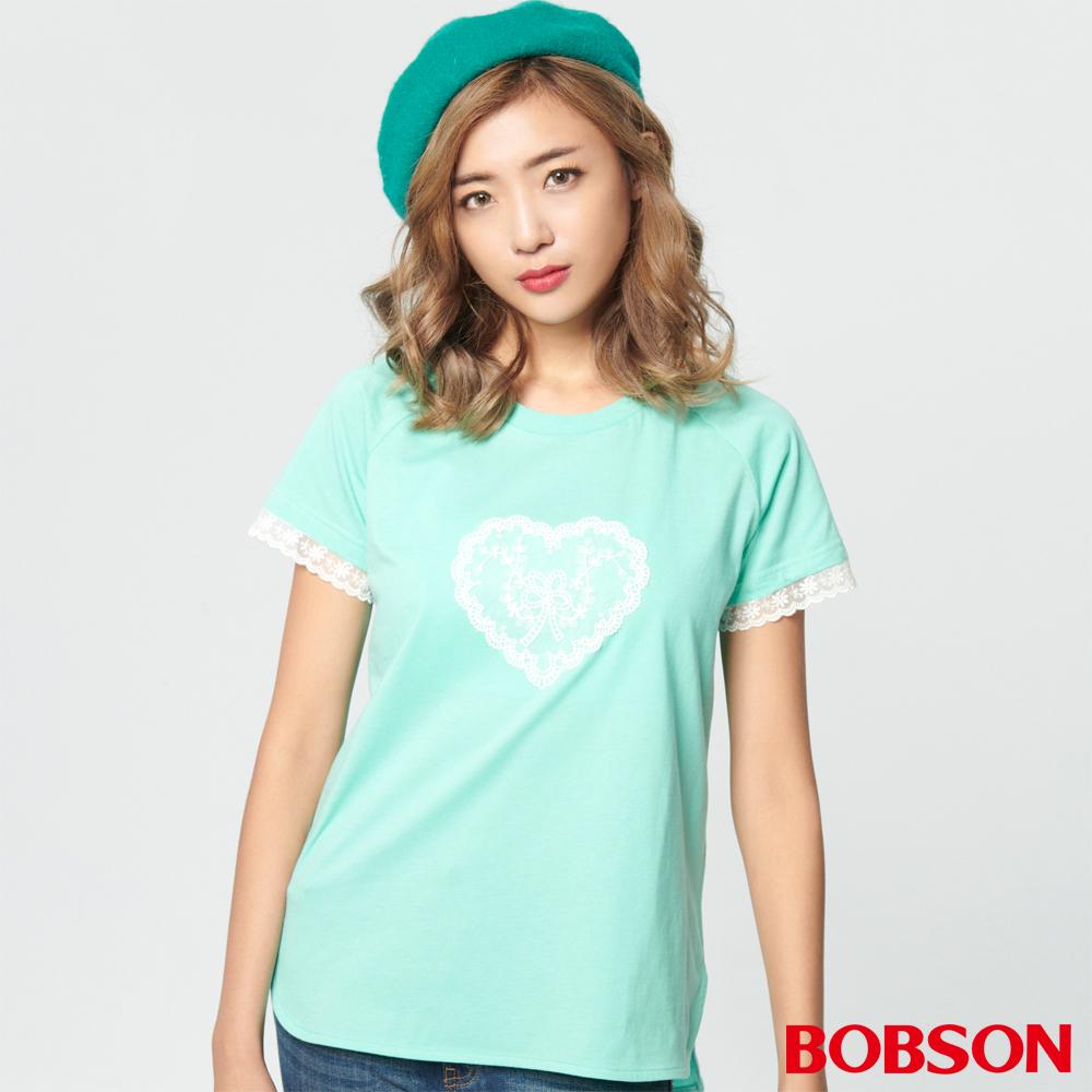 BOBSON 女款心型蕾絲拉克蘭上衣 (28094-48)