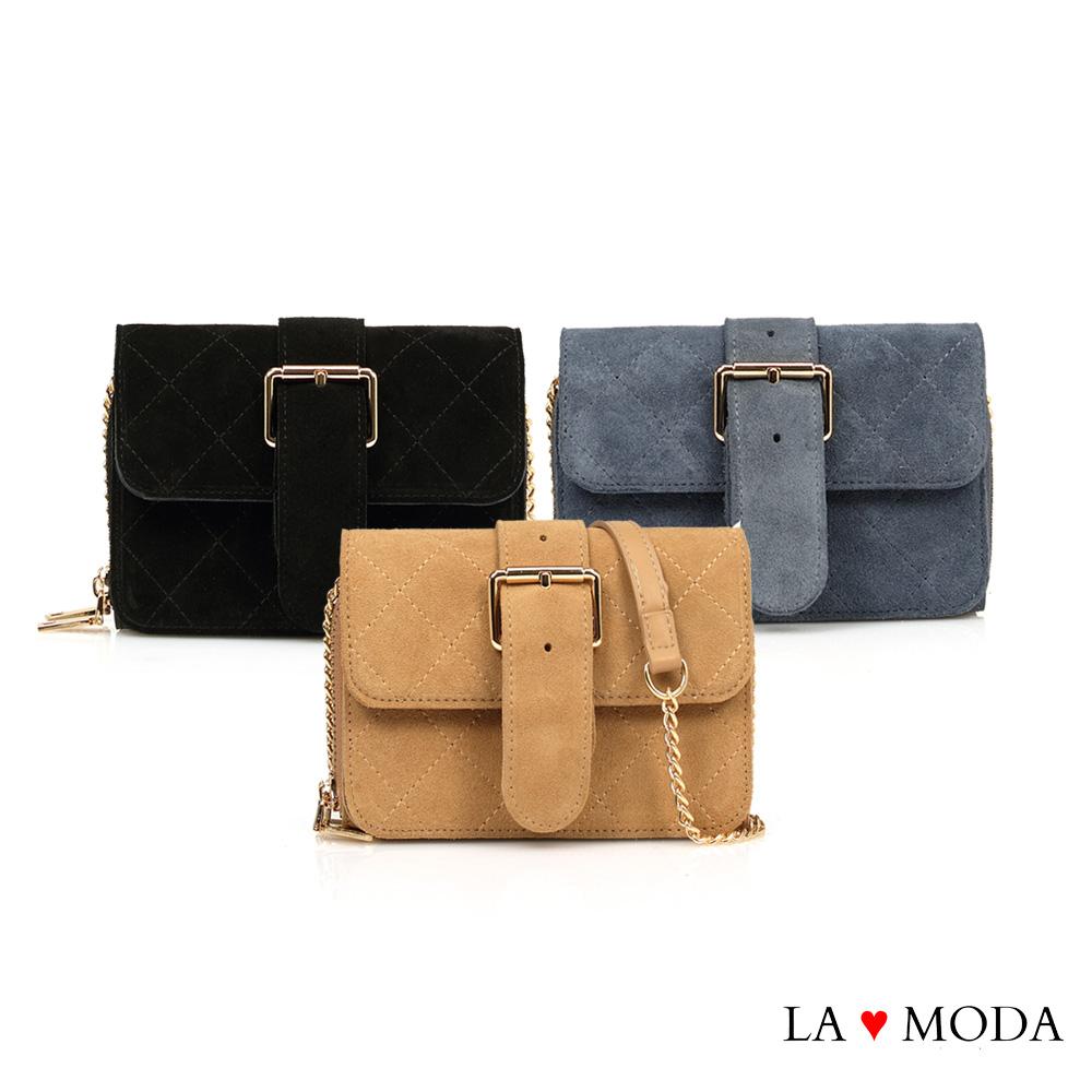 La Moda 街頭時尚Look小香風菱格紋大容量多夾層肩背斜背鍊帶包小包(共3色)