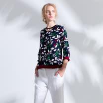 【PANGCHI 龐吉】珍珠墜飾春日嫩葉印花上衣