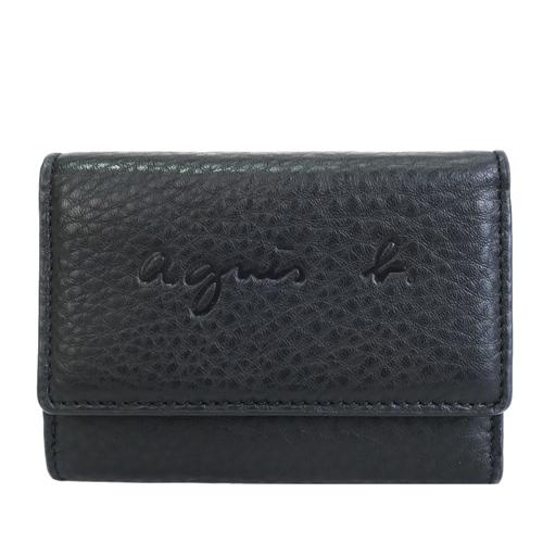 agnes b. 壓印LOGO牛皮鑰匙零錢包-黑