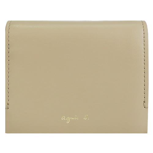 agnes b.燙金LOGO三折壓釦皮革短夾(附錢袋)-駝
