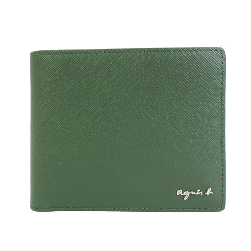 agnes b.金字LOGO防刮對開短夾(附零錢袋)-墨綠