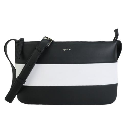 agnes b.巴黎限定橫條紋羊皮扁斜背包-黑白
