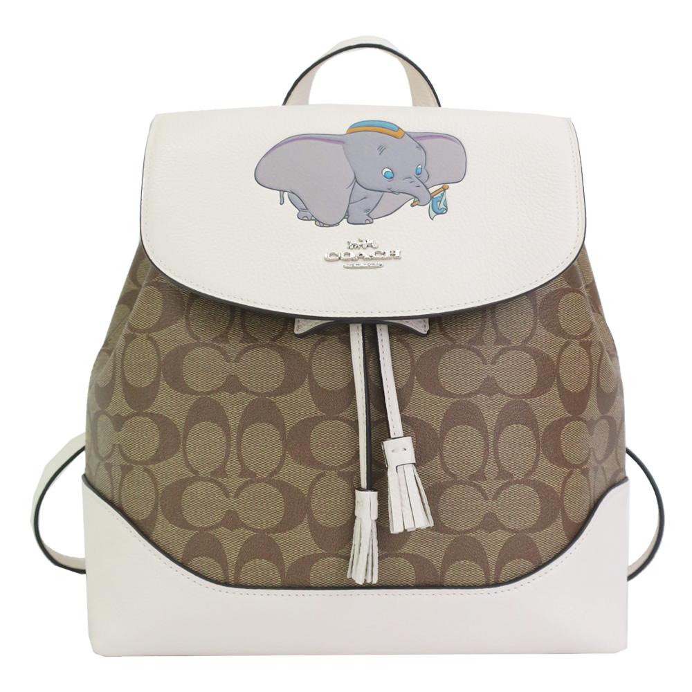 COACH X DISNEY 限量聯名款 經典緹花拼接後背包 小飛象