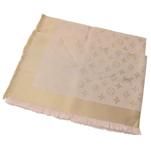 Louis Vuitton LV M76068 Monogram Denim 經典花紋羊毛絲綢披肩圍巾.玫黃_現貨