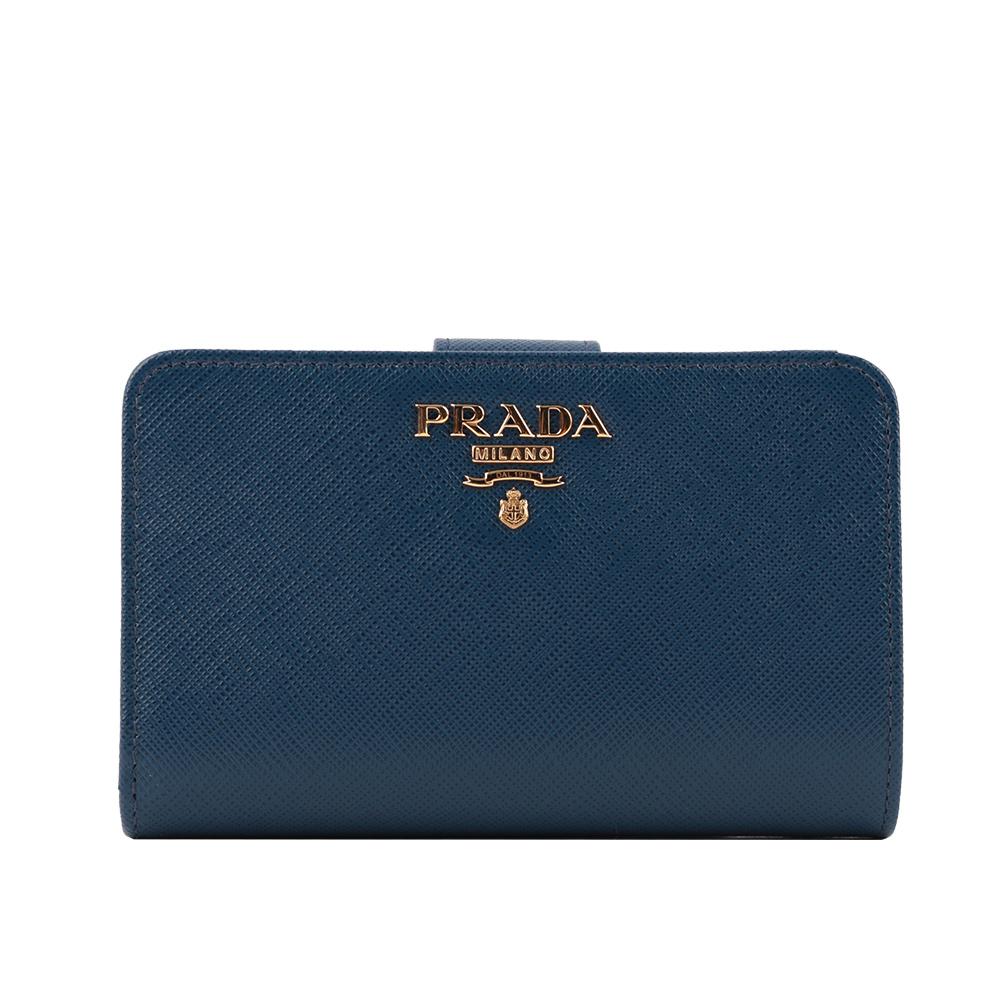 【PRADA】浮雕logo二折防刮牛皮零錢袋中夾(深藍色) 1ML225 QWA F0016