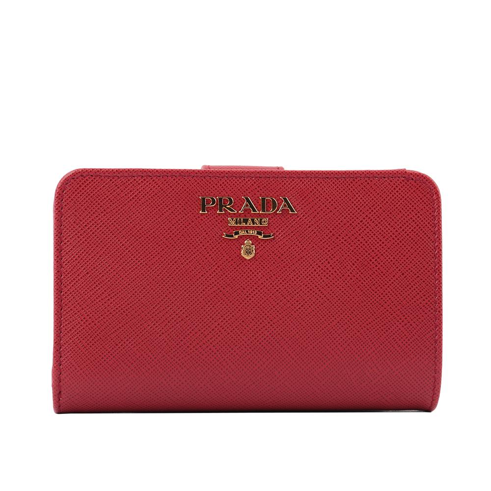 【PRADA】浮雕logo二折防刮牛皮零錢袋中夾(紅色) 1ML225 QWA F068Z