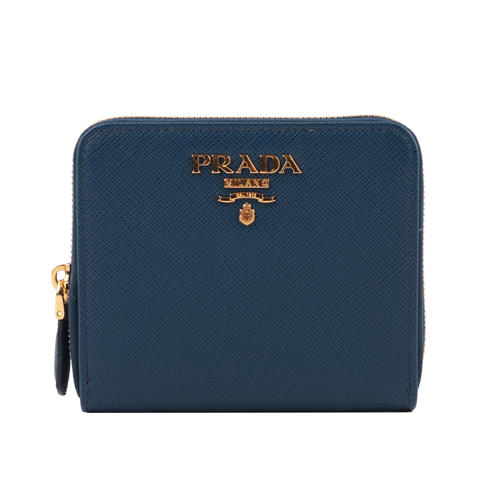 【PRADA】浮雕logo防刮拉鍊零錢袋短夾(深藍色) 1ML036 QWA F0016