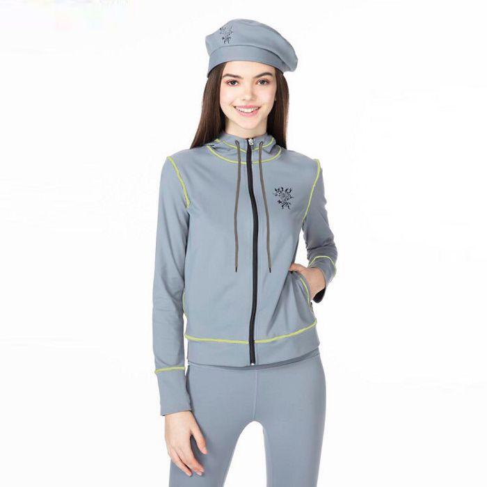 【HOII后益官方授權】時尚-撞色風格連帽外套-灰